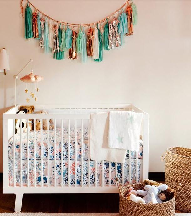 teal tassles modern crib